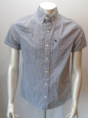 Abercrombie and Fitch Blue Check Plaid Short Sleeve Men's Button Down Shirt Sz S