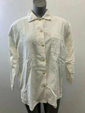 Eddie Bauer Women's Medium White Corduroy Long Sleeve Button Up Shirt