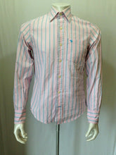 Load image into Gallery viewer, Abercrombie & Fitch Men's Small Long Sleeve Pink Blue Striped Button Up Shirt