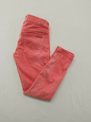 7 For All Mankind The Cropped Skinny Womens Size 27 Orange Jeans