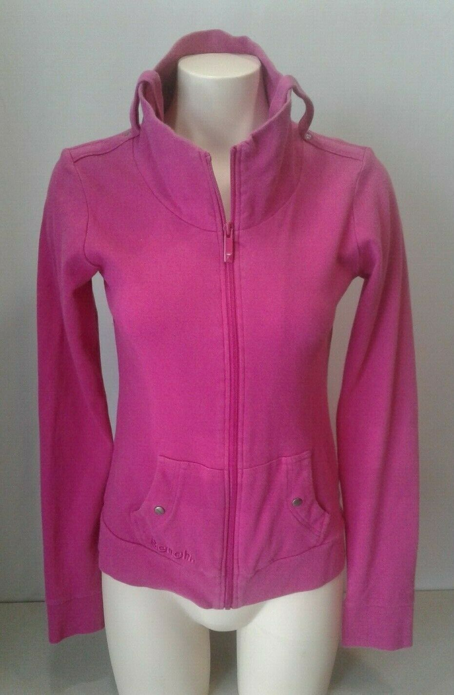 Bench Women's Pink Long Sleeve Full Zip Mock Neck Cotton Jacket Size Medium