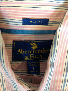 Abercrombie & Fitch Men's Small Long Sleeve Pink Blue Striped Button Up Shirt