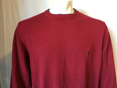 Nautica Red Crew Neck Knit Men's Sweater with Embroidered Logo Size X-Large