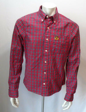 Abercrombie & Fitch Red Plaid Crest Pocket L/S Button Down Men's Shirt Size L