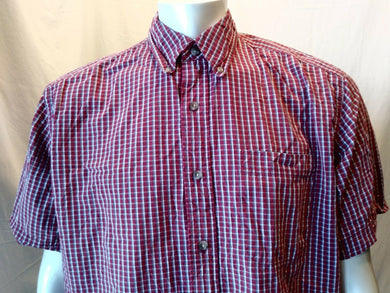 Eddie Bauer 80's 2-Ply Cotton Red Gray Plaid Button Down Men's S/S Shirt Size L