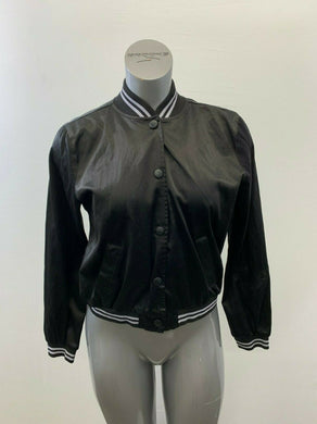 American Eagle Women's Large Black Satin Snap Button Long Sleeve Jacket