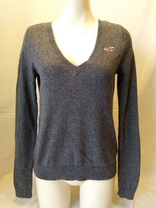 Hollister Gray Long Sleeve Women's V Neck Cotton Acrylic Sweater Size M