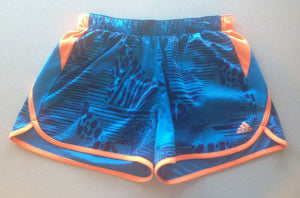 Adidas Shorts Women's Size Small Blue Orange Polyester Running Workout Shorts