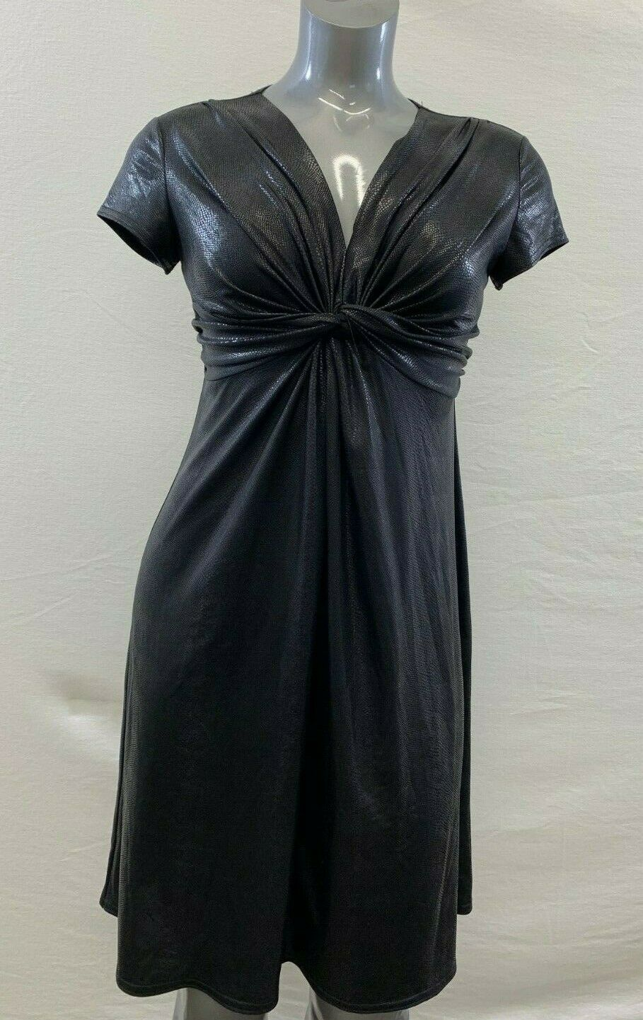 Joseph Ribkoff Women's 12 Black Shiny Snake Print Cap Sleeve Tie Front Dress