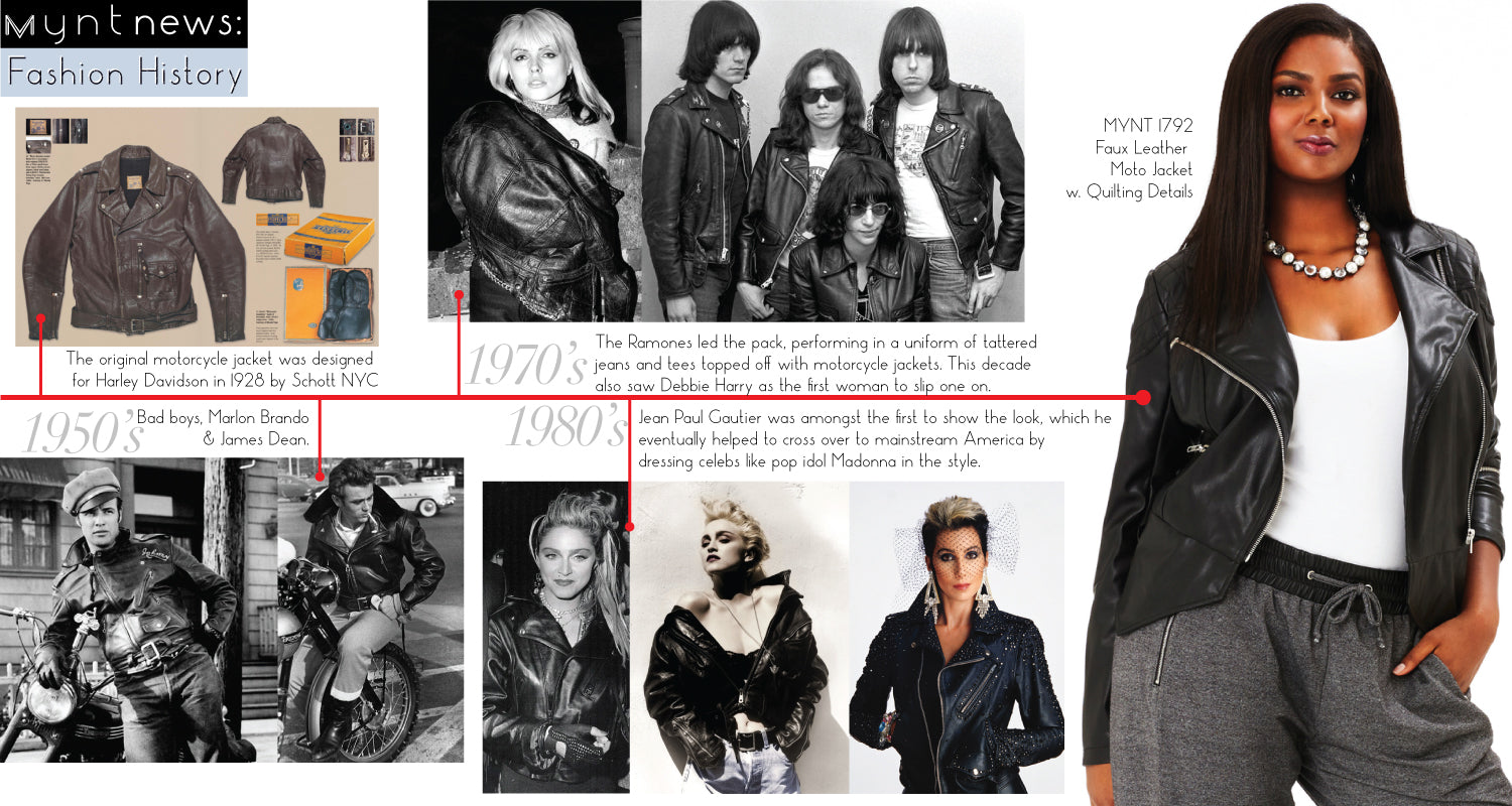 Leather jacket decade -  Nyc And Was The Very First Jacket To Feature A Zip Front Throughout The Years It Became A Staple Amongst Hollywood Legends Music And Fashion Icons