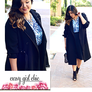 Plus Size Trench Coat, Python Blouse & Flare Skirt