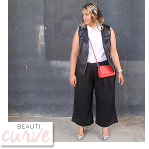 Plus Size Culottes and Moto Vest worn by Curvy Girl Chic
