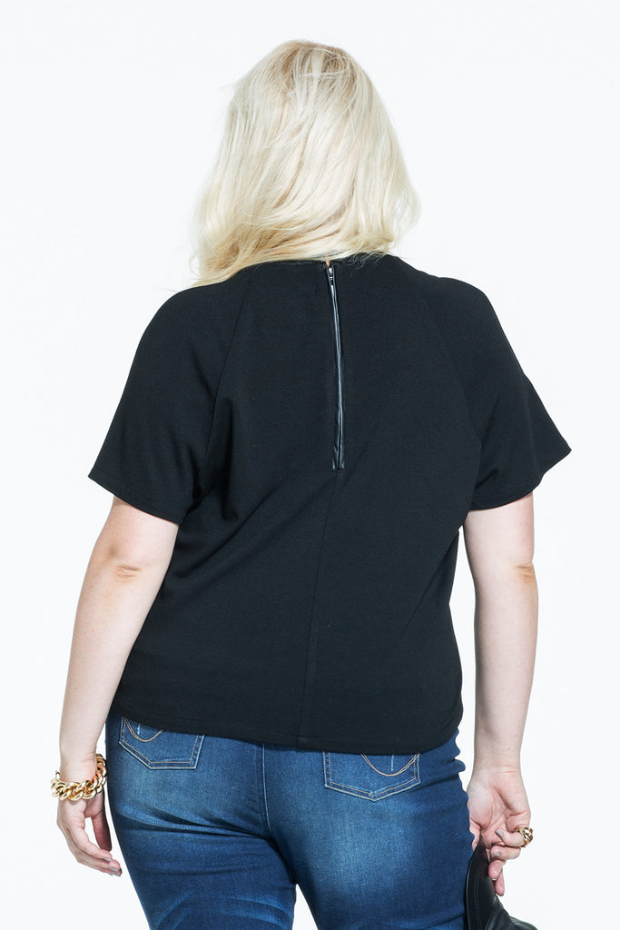 Plus Size Faux Leather T-shirt