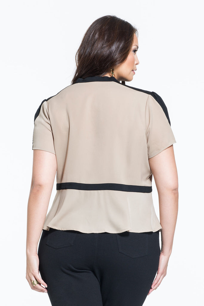 PLUS SIZE SHORT SLEEVE BEIGE PEPLUM