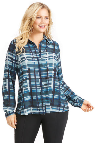 PLUS SIZE PLAID BUTTON UP