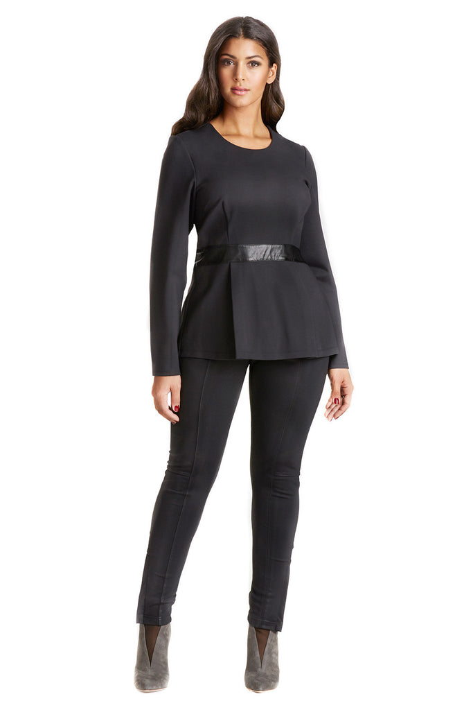 PLUS SIZE PEPLUM TOP IN BLACK