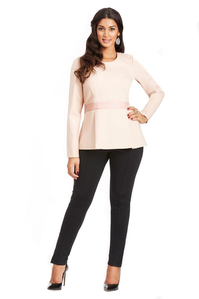 PLUS SIZE PEPLUM TOP IN PINK