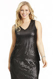 PLUS SIZE SEQUIN V-NECK IN BLACK