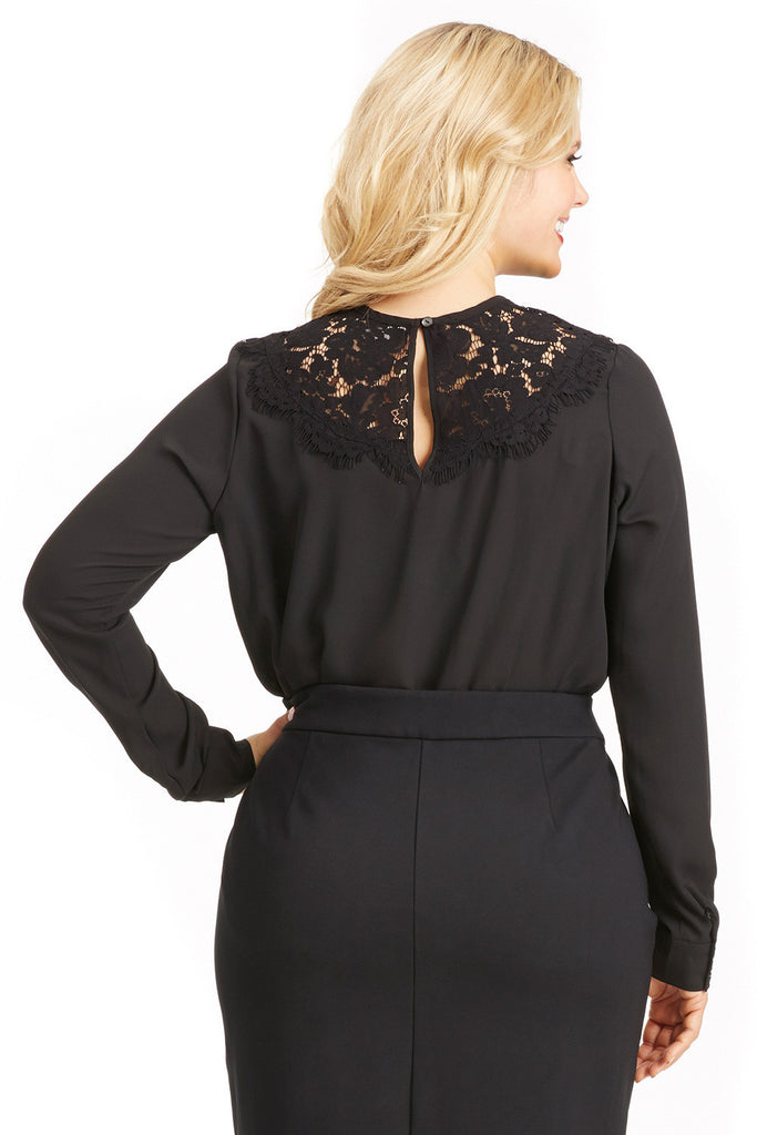 PLUS SIZE BLACK LACE YOKE BLOUSE