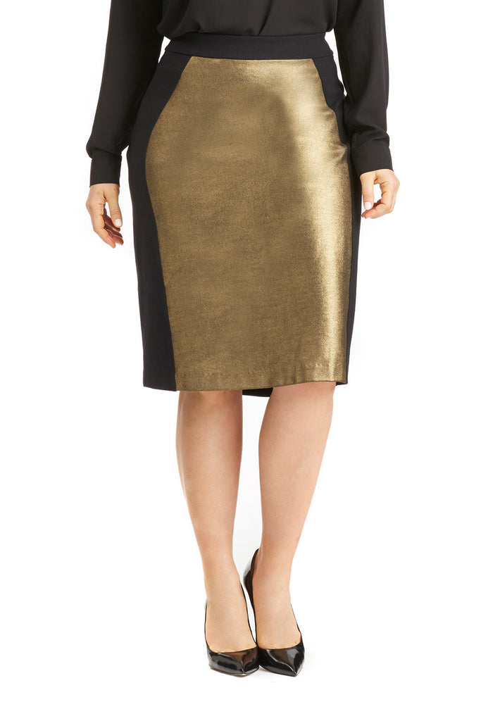 PLUS SIZE GOLD COLORBLOCK PENCIL SKIRT