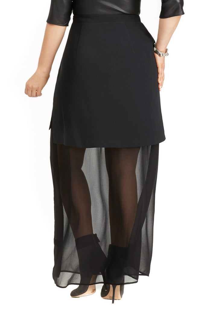 PLUS SIZE BLACK SHEER MAXI UNDERLAY SKIRT