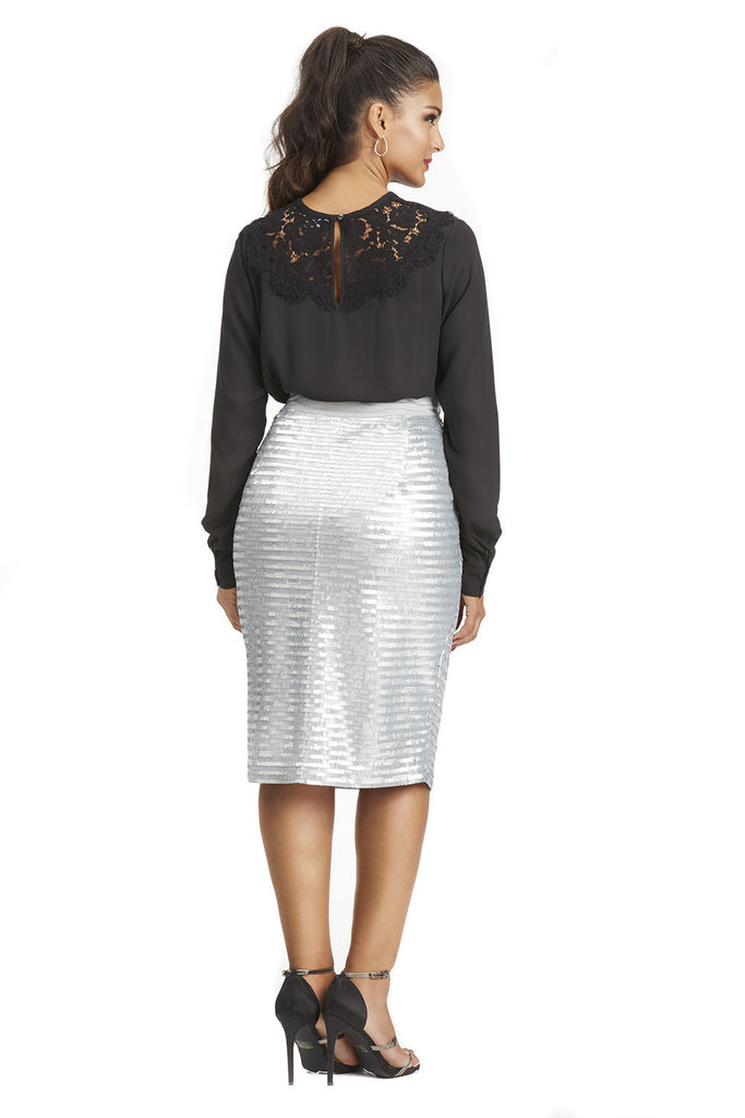 PLUS SIZE BLACK SEQUIN PENCIL SKIRT