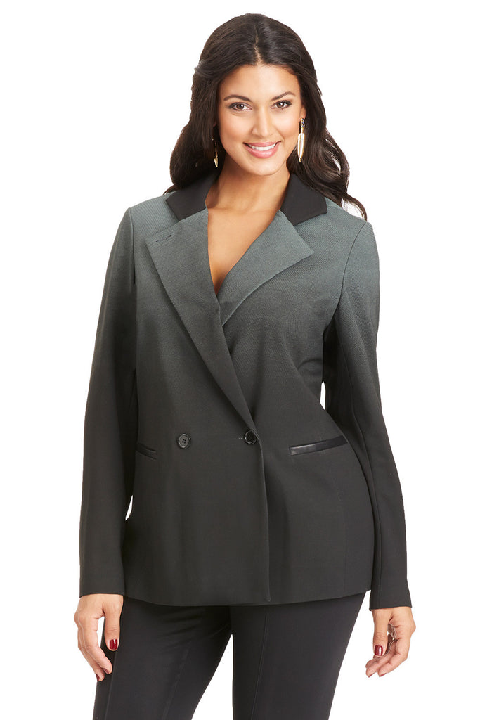 PLUS SIZE OMBRE PRINT BLAZER IN DARK GREEN