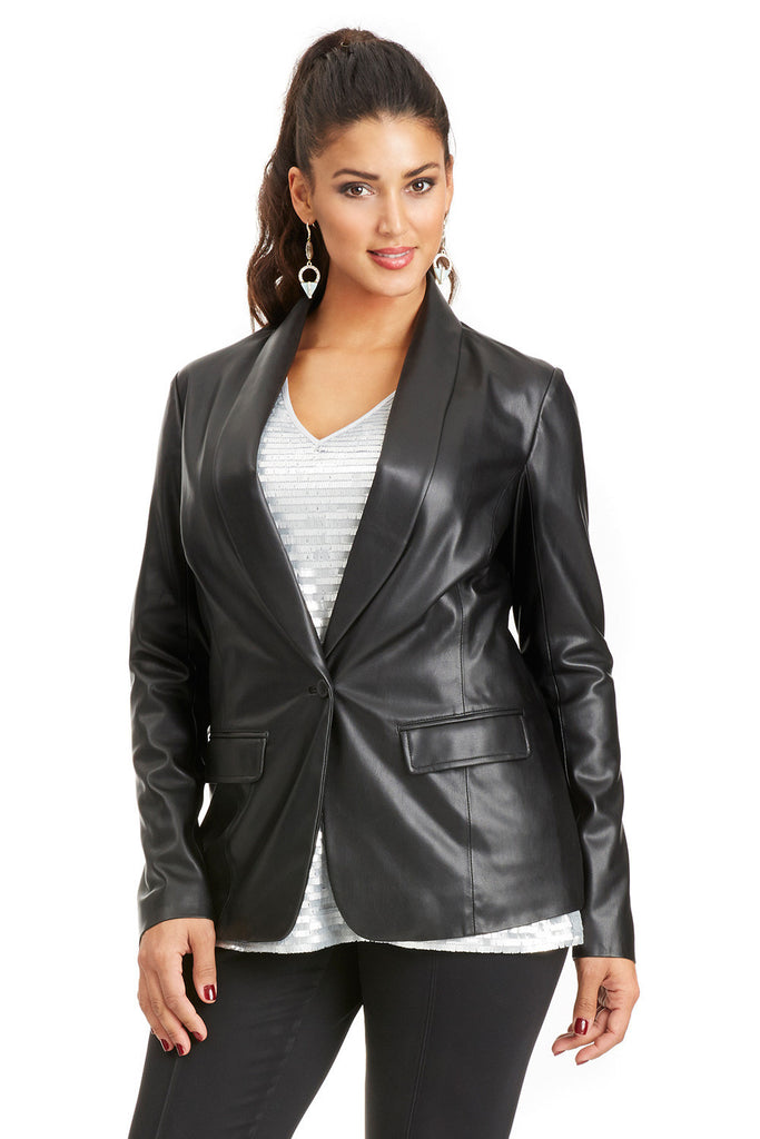 PLUS SIZE BLACK FAUX LEATHER TUX