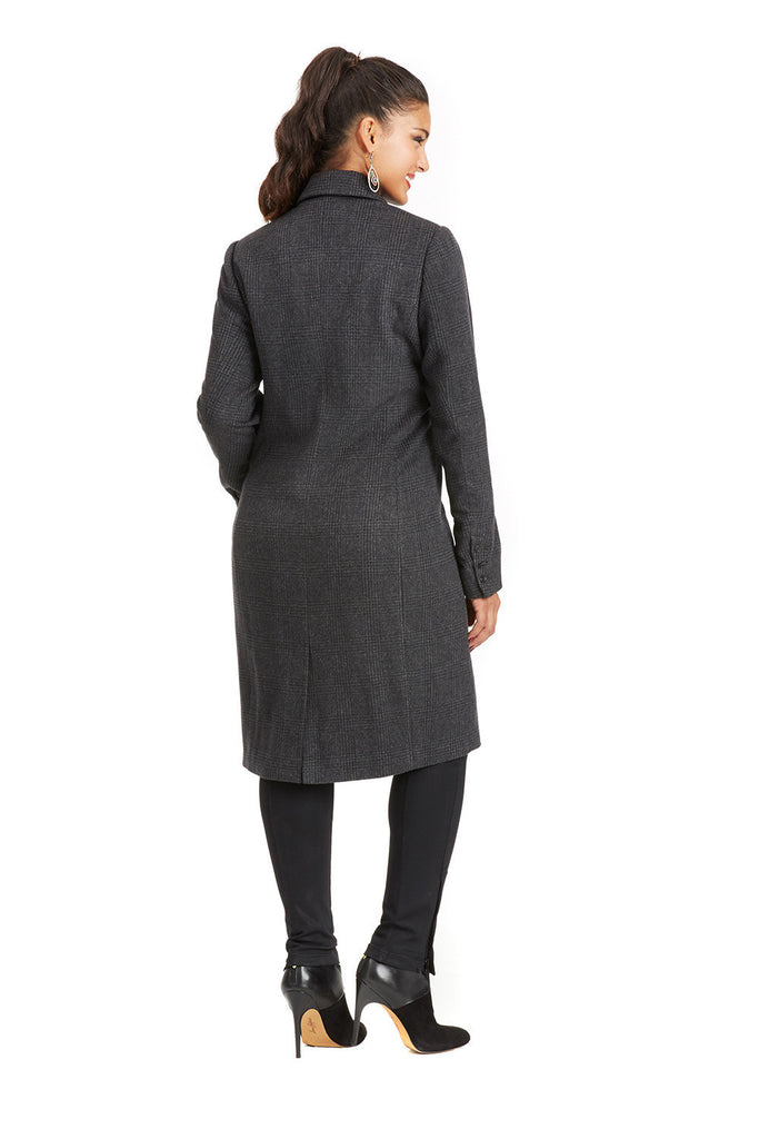 PLUS SIZE MOTO COAT IN GREY