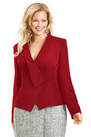 CURVY CINCHED WAIST RED PEPLUM JACKET