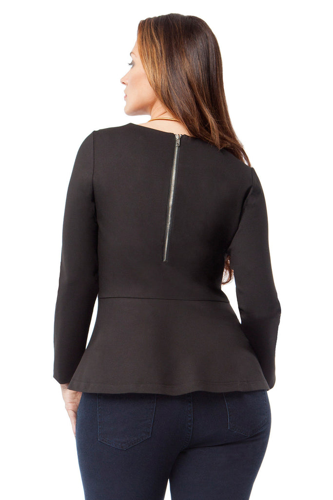 PLUS SIZE LONG SLEEVE PEPLUM
