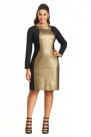 PLUS SIZE GOLD/BLACK COLORBLOCK DRESS