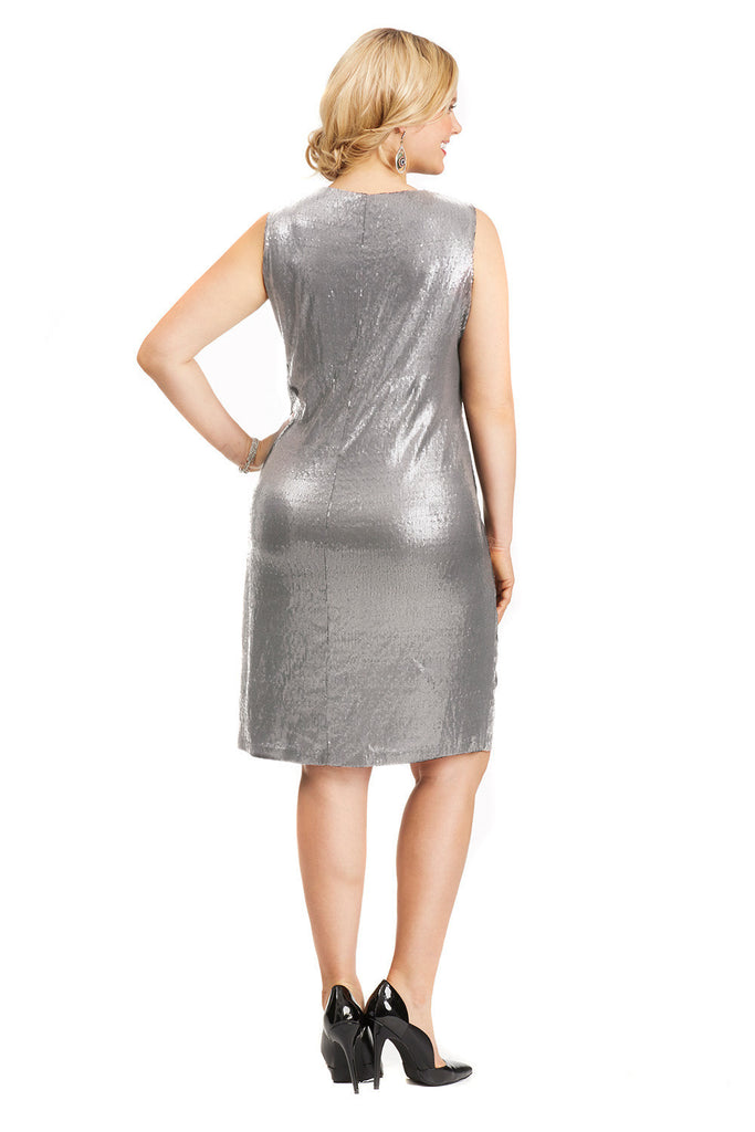PLUS SIZE CURVY SILVER SEQUIN DRESS