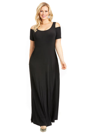 PLUS SIZE BLACK MAXI COLD SHOULDER DRESS