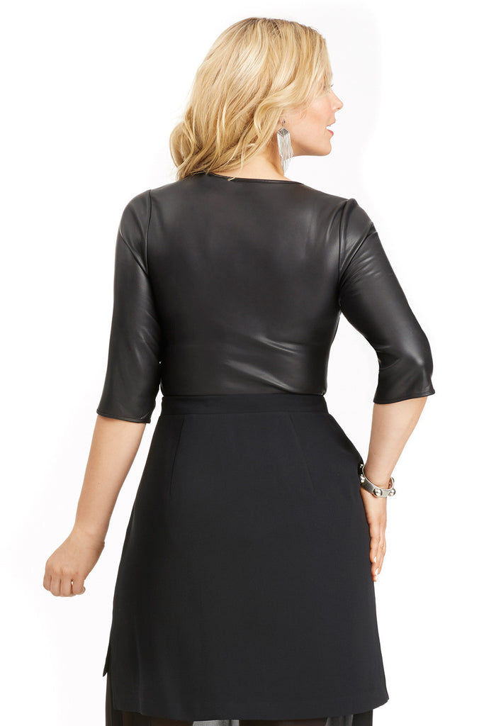 PLUS SIZE BLACK FAUX LEATHER BODYSUIT