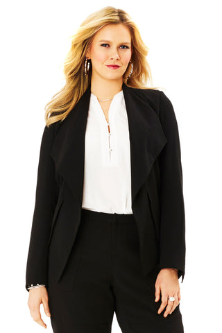 PLUS SIZE OPEN BLAZER IN BLACK