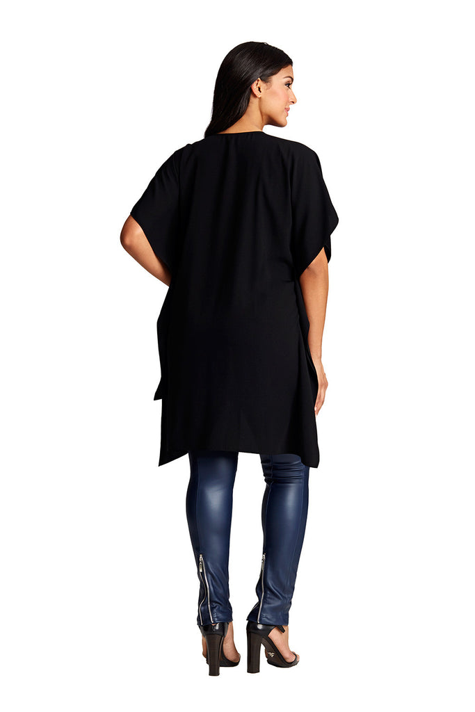 Curve Flattering Cascade Blouse in Black