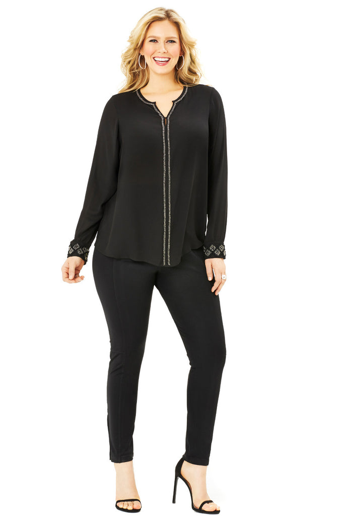 PLUS SIZE EMBELLISHED BLOUSE IN BLACK