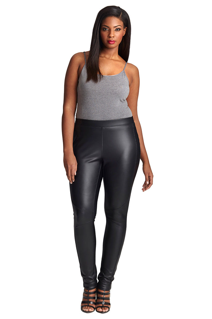 Plus Size Black Coated Legging