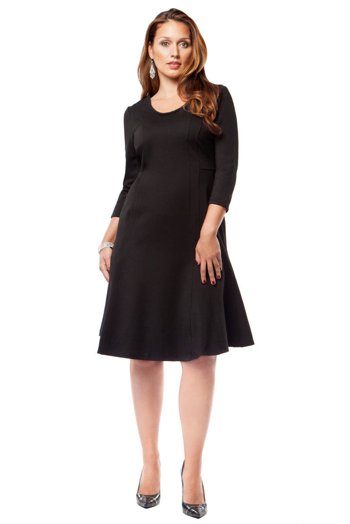 SLIMMING PLUS SIZE FIT AND FLARE DRESS