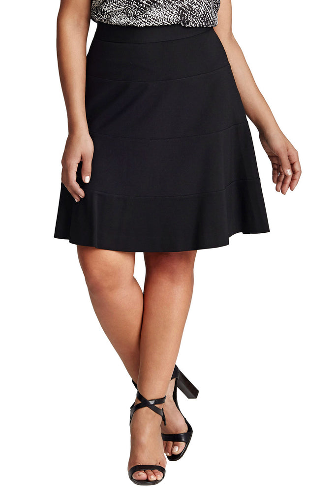PLUS SIZE PONTE FLARED SKIRT IN BLACK