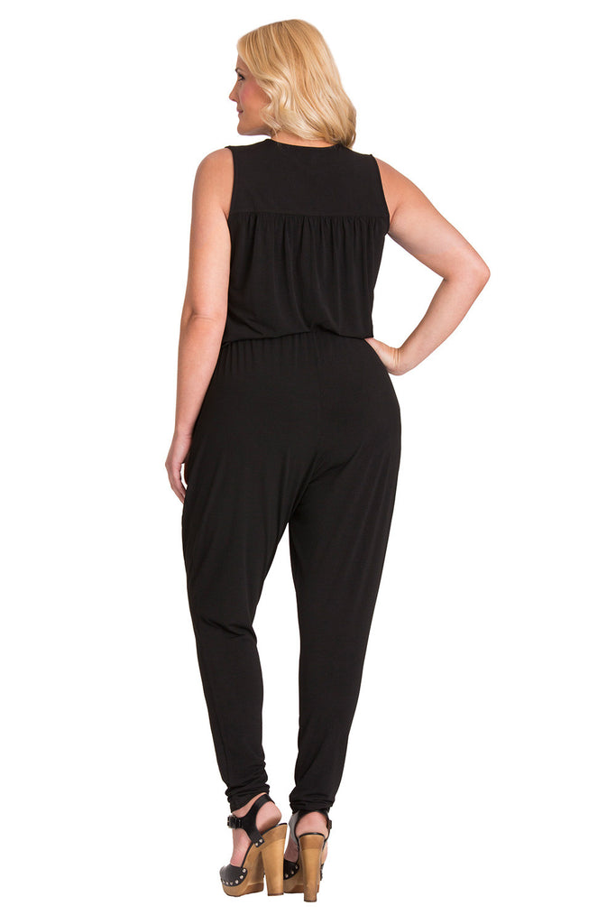 Plus Size Black Sleeveless Jumpsuit