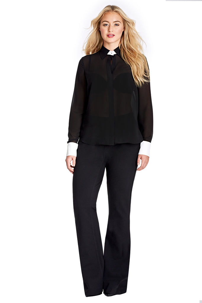 PLUS SIZE SHEER BLACK TAILORED BLOUSE