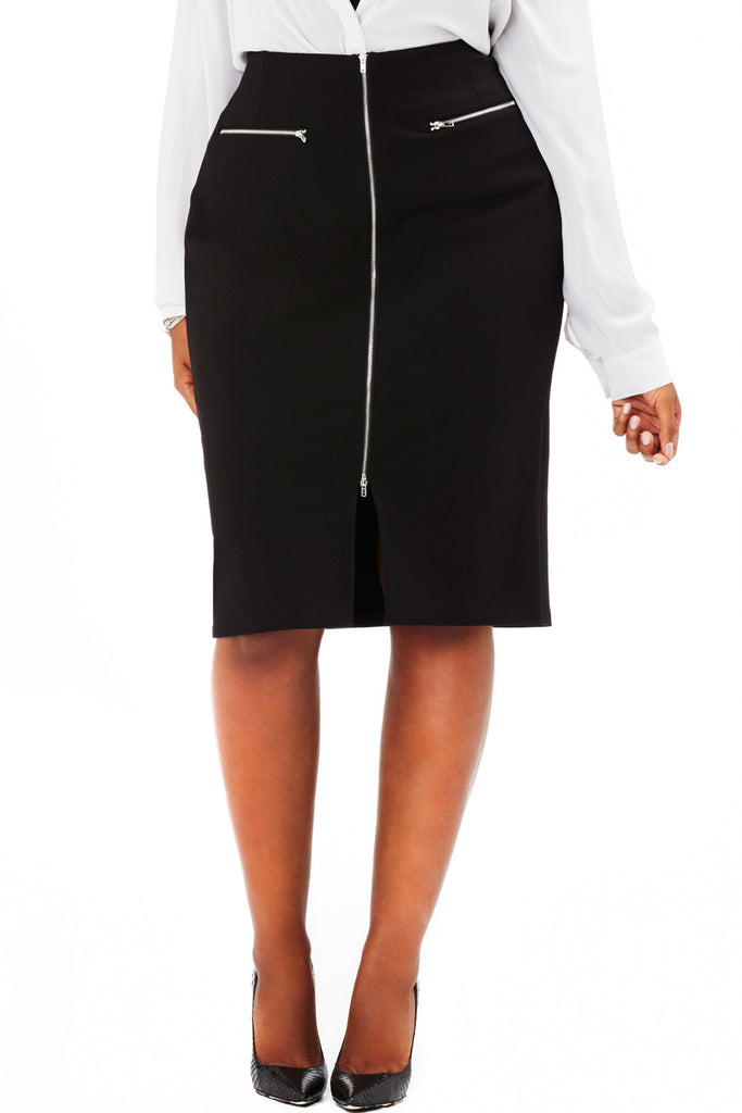 PLUS SIZE HIGH WAIST FRONT ZIP SKIRT