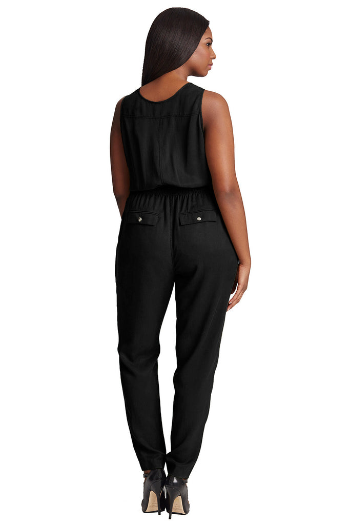 PLUS SIZE BLACK MILITARY JUMPSUIT