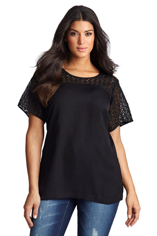 PLUS SIZE BLACK LACE BLOCK BLOUSE
