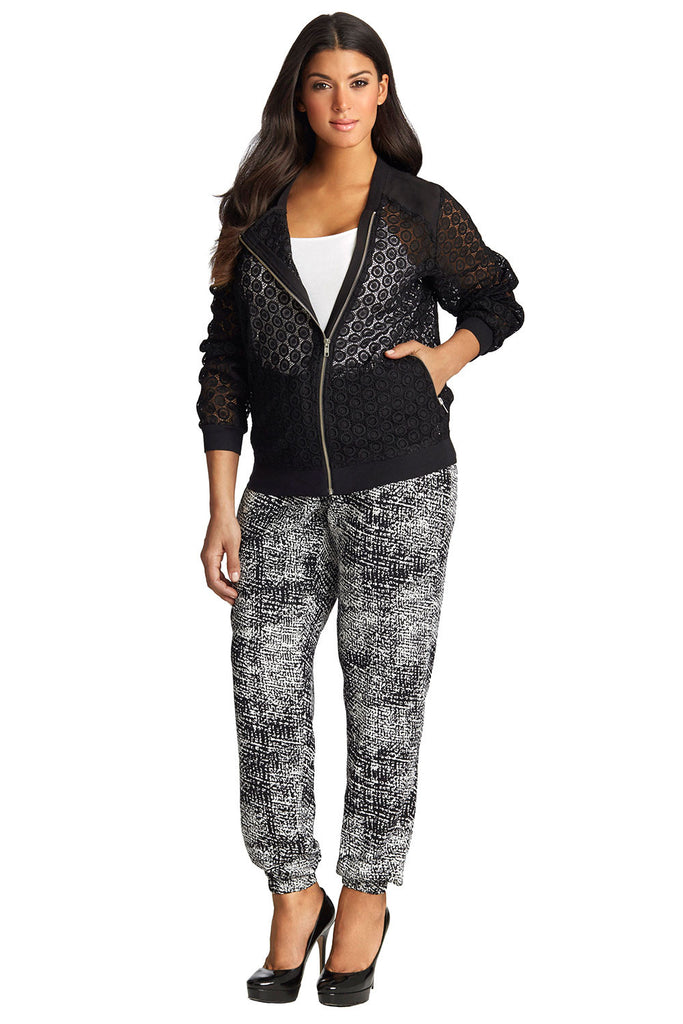 PLUS SIZE LACE BOMBER JACKET