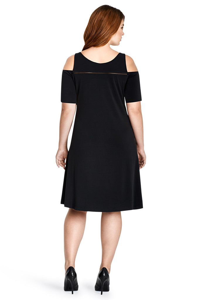 MYNT 1792 BLACK MESH COMBO COLD SHOULDER DRESS