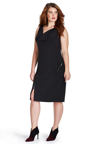 PLUS SIZE ZIPPER MOTO DRESS