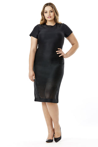 MYNT 1792 BLACK NEOPRENE LASER CUT BODYCON DRESS
